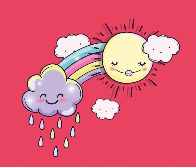 Glückliche sonne mit regenbogen und niedlichen wolken Premium Vektoren