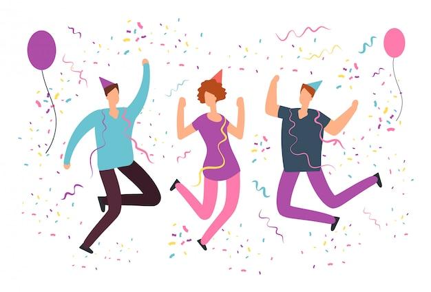 Glückliche springende leute mit fallenden konfettis, ballone an der spaßgeburtstagsfeier Premium Vektoren