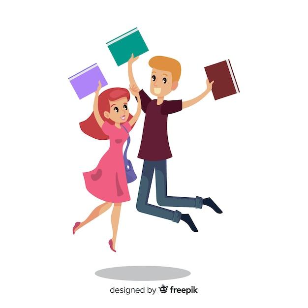 Glückliche springende und feiernde studenten Kostenlosen Vektoren