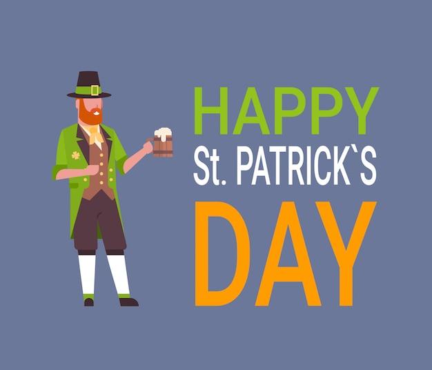 Glückliche st. patricks day-karte mit mann im grünen kobold anzug Premium Vektoren