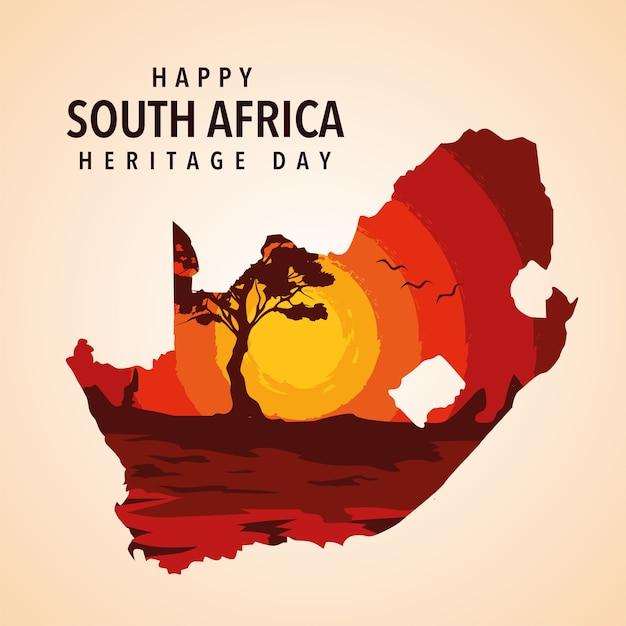 Glückliche südafrika-erbe-tagesillustration Premium Vektoren