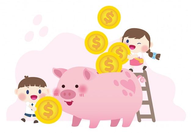 Glückliche süße kinder geld sparen investition Premium Vektoren