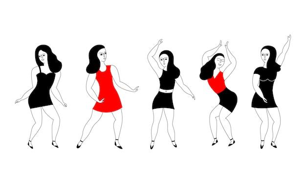 Glückliche tänzerinnen. Premium Vektoren