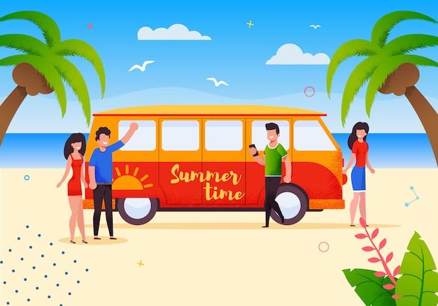 Glückliche touristen auf sommer-busreise-ferien Premium Vektoren