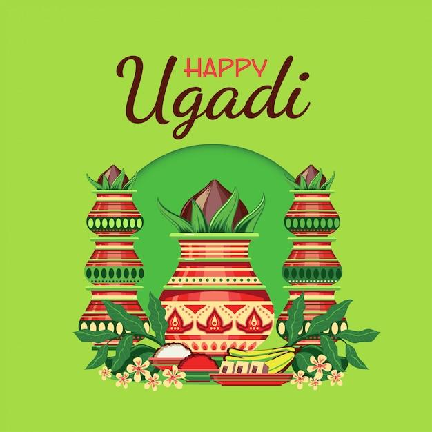 Glückliche ugadi-grußkarte mit verziertem kalash Premium Vektoren