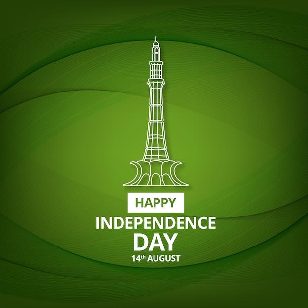 Glückliche unabhängigkeitstag feier von pakistan Kostenlosen Vektoren