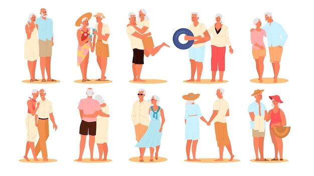 Glückliche und aktive senioren, die zeit am strand verbringen. ehepaar im ruhestand in den sommerferien. frau und mann im ruhestand. Premium Vektoren