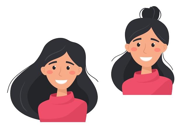 Glückliche und zufriedene frauen mit unterschiedlichen frisuren. illustration im flachen stil. Premium Vektoren
