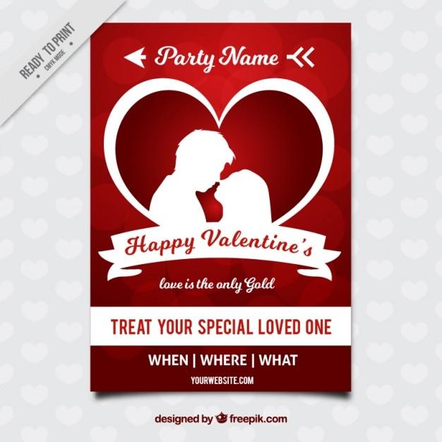 Glückliche valentinstag-broschüre mit paar silhouette Kostenlosen Vektoren