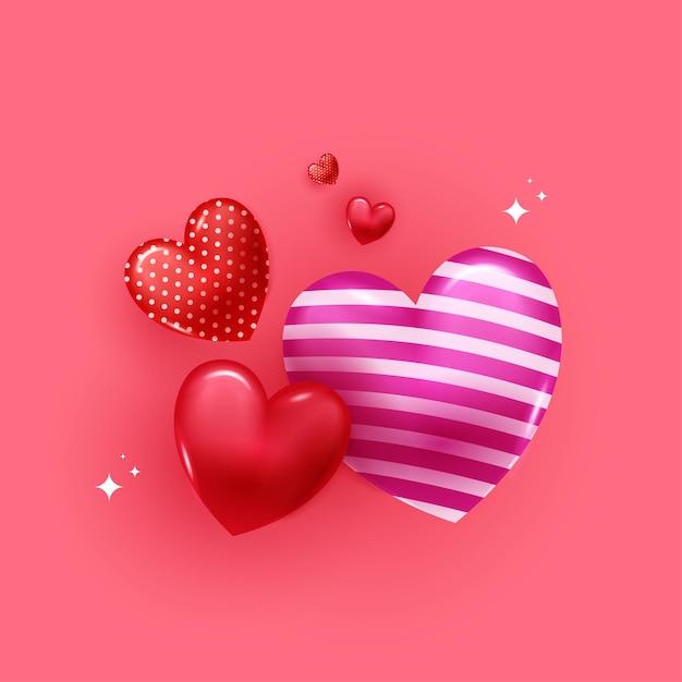 Glückliche valentinstag-grußkarte mit 3d ballonherzen auf rosa hintergrund. Premium Vektoren