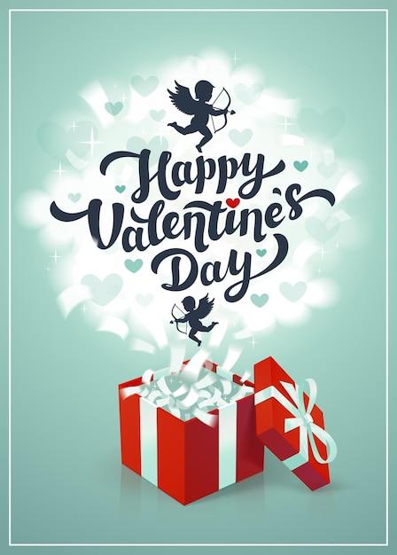 Glückliche valentinstag-grußkarte mit roter geschenkbox und amoren in den wolken Premium Vektoren