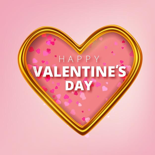 glückliche valentinstaggrußkarte realistische goldene