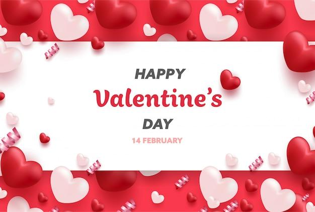 Glückliche valentinstagfahne mit den roten und rosa luxusherzen und den reizenden elementen. Premium Vektoren