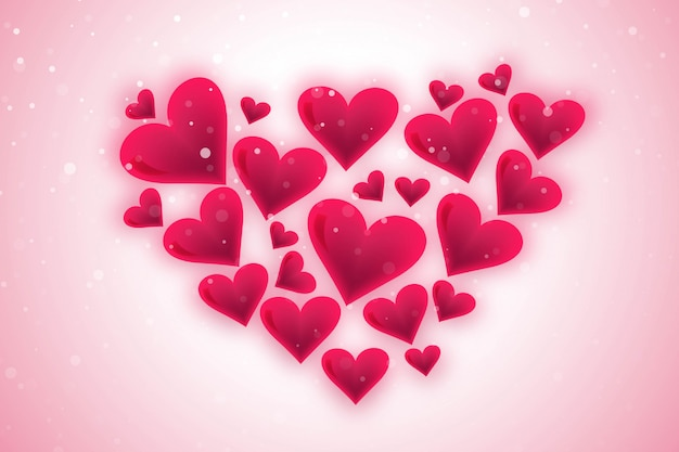 Glückliche valentinstaggrußkarte mit herzen Kostenlosen Vektoren