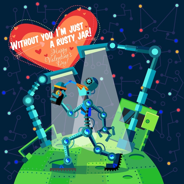 Glückliche valentinstaggrußkarte über roboter Premium Vektoren