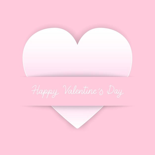 Glückliche valentinstaghandbeschriftung mit herzikone auf rosa hintergrund Premium Vektoren