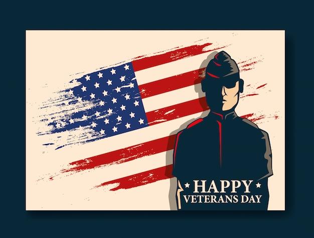 Glückliche veteranentagesfeier mit militär und flagge Premium Vektoren