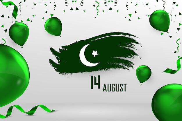 Glücklicher 14. august pakistanischer unabhängigkeitstag Premium Vektoren