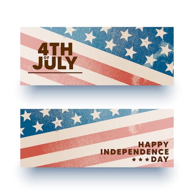 Glücklicher 4. juli banner, flyer. Premium Vektoren