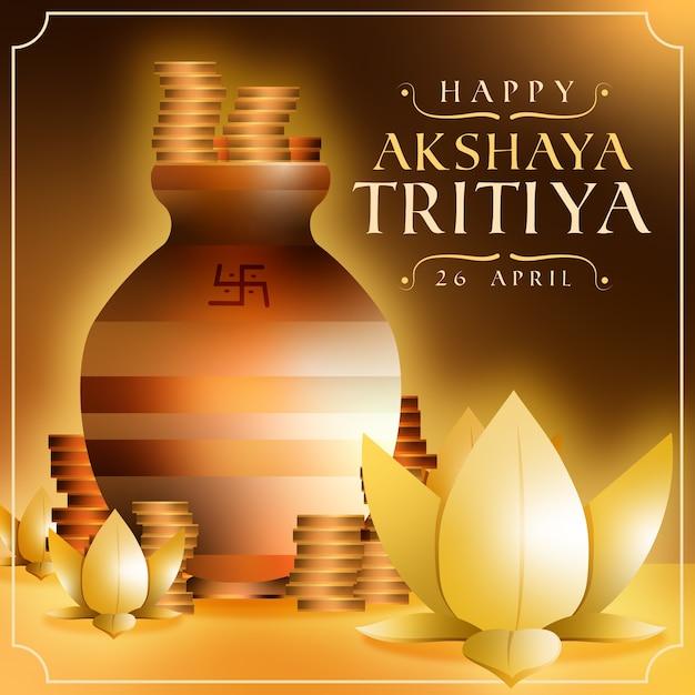 Glücklicher akshaya tritiya stapel von münzen Kostenlosen Vektoren