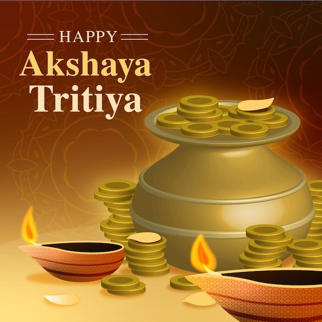 Glücklicher akshaya tritiya topf und kerzen Kostenlosen Vektoren