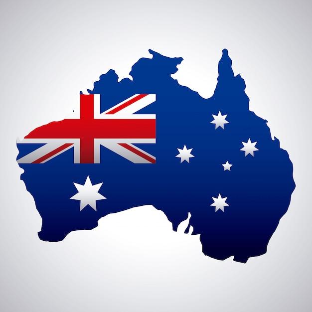 Glücklicher australien-tag mit flagge auf karte Kostenlosen Vektoren