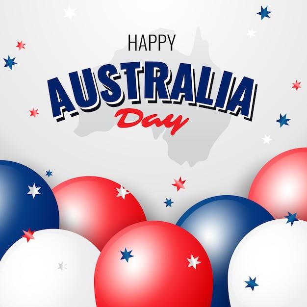 Glücklicher australien-tag mit nahaufnahmeballonen und -konfettis Kostenlosen Vektoren