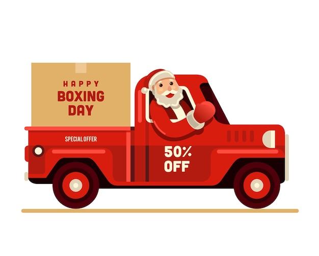 Glücklicher boxtag weihnachtsmanns reitwagens Premium Vektoren
