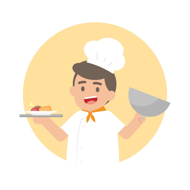 Glücklicher chefmann, der ein silbertablett mit gekochtem essen hält Premium Vektoren
