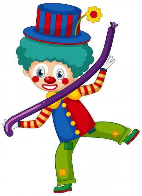 Glücklicher clown mit purpurrotem ballon auf weißem hintergrund Kostenlosen Vektoren