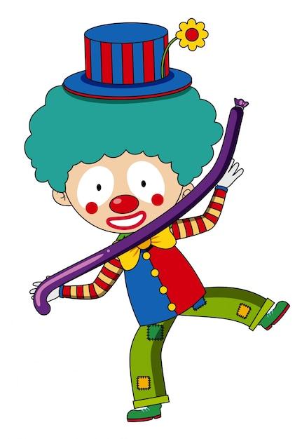 Glücklicher Clown Mit Purpurrotem Ballon Download Der Kostenlosen