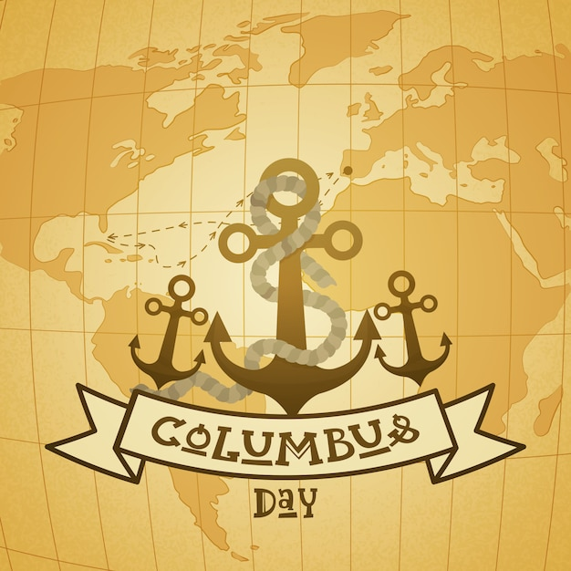 Glücklicher columbus day national usa-feiertags-gruß-karte mit anker über weltkarte Premium Vektoren