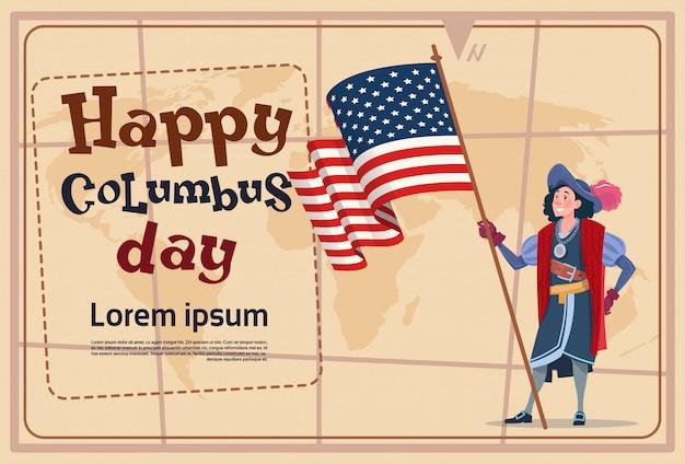 Glücklicher columbus-tag amerika entdecken feiertags-plakat-gruß-karte Premium Vektoren
