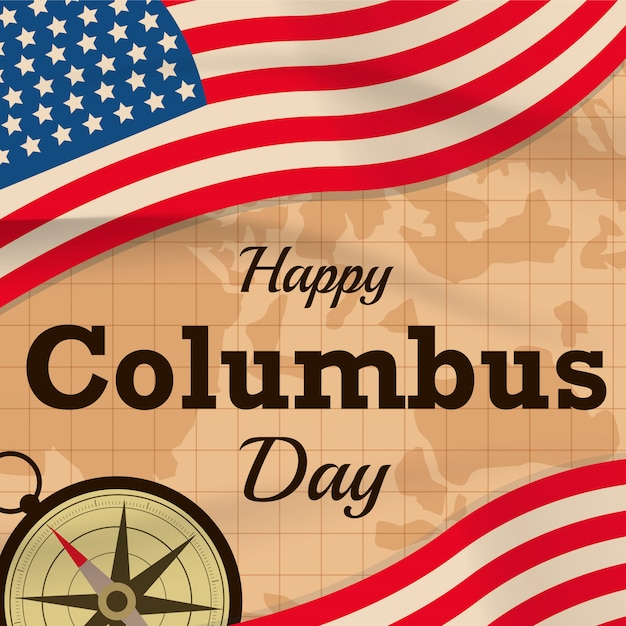 Glücklicher columbus-tag mit usa-flagge auf kartenhintergrund oder -fahne Premium Vektoren