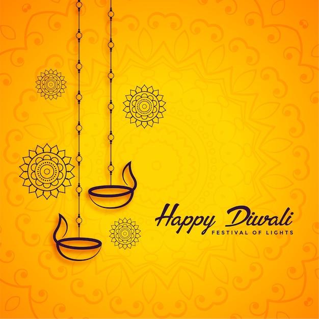Glücklicher diwali dekorativer festivalgrußhintergrund Kostenlosen Vektoren