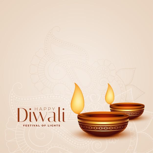 Glücklicher diwali feierhintergrund mit dekorativem diya Kostenlosen Vektoren