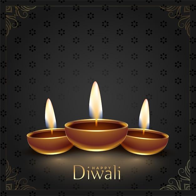Glücklicher diwali festival diya dekorativer hintergrund Kostenlosen Vektoren