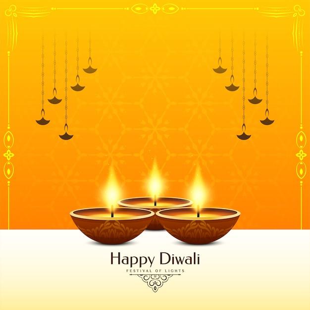 Glücklicher diwali festival gelber farbhintergrund Kostenlosen Vektoren
