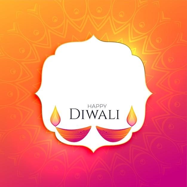 Glücklicher diwali-festivalhintergrund mit textplatz Kostenlosen Vektoren