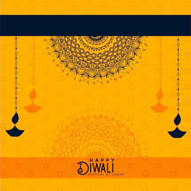 Glücklicher diwali gelber dekorativer hintergrund Kostenlosen Vektoren