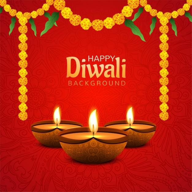 Glücklicher diwali-hintergrund mit dekorativem blumenhintergrund Kostenlosen Vektoren