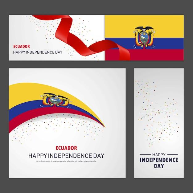 Glücklicher ecuador-unabhängigkeitstag fahnen- und hintergrund-satz Kostenlosen Vektoren