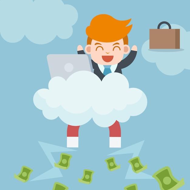 Glücklicher erfolgreicher geschäftsmann sitzt auf wolke mit laptop, den magneten, der viel geld sammelt Premium Vektoren