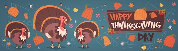 Glücklicher erntedank-tagesherbst-traditionelle ernte-feiertags-gruß-karte mit der türkei Premium Vektoren