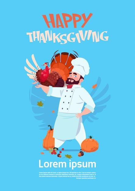 Glücklicher erntedank-tagesmännlicher chefkoch holding turkey restaurant autumn traditional-menü-konzept-gruß-karte Premium Vektoren