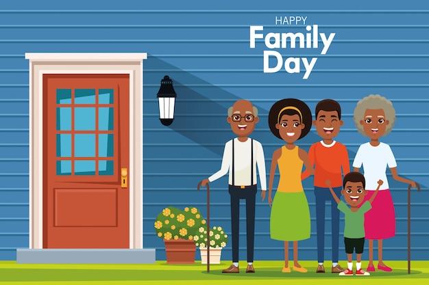 Glücklicher familientag Premium Vektoren