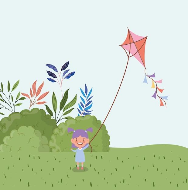 Glücklicher fliegendrachen des kleinen mädchens auf dem gebiet gestalten landschaftlich Kostenlosen Vektoren
