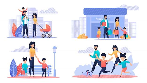 Glücklicher freier familientag karikatur-illustrations-satz Premium Vektoren