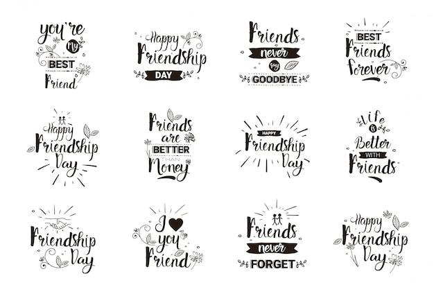 Glücklicher freundschafts-tag logo set grußkarten-sammlung-freund-feiertags-fahne Premium Vektoren