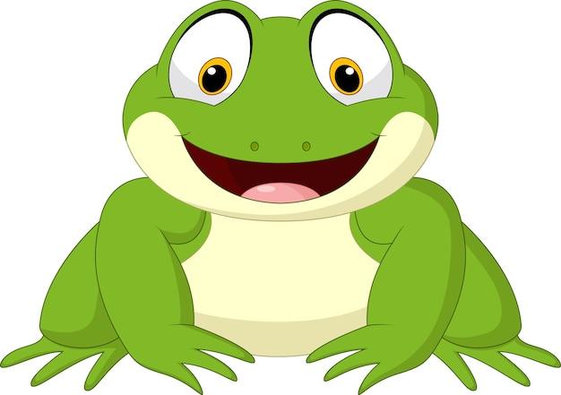Glücklicher frosch der karikatur lokalisiert auf weißem hintergrund Premium Vektoren